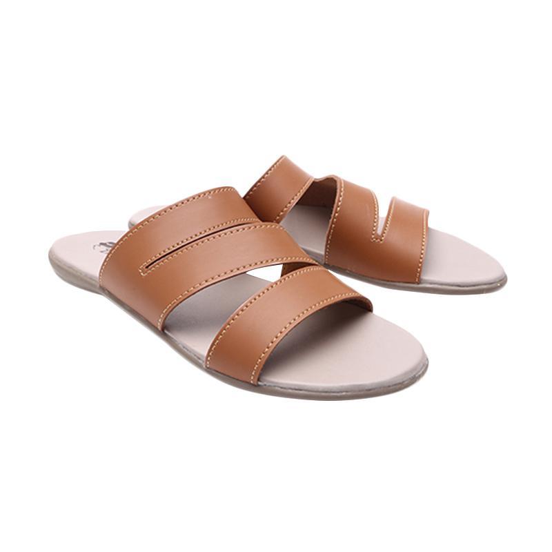 Dr.Kevin 27329 Ladies Flat Sandals Pu Leather Sandal Wanita - Tan