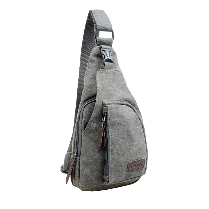 Tas Slempang Pria Import Kanvas Militer - Slempang Messenger Shoulder Bag Fashi - Warna HITAM