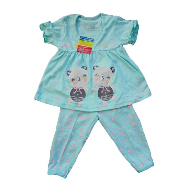 Piteku Hello Sunshine Lengan Pendek Setelan Pakaian Tidur Anak - Biru
