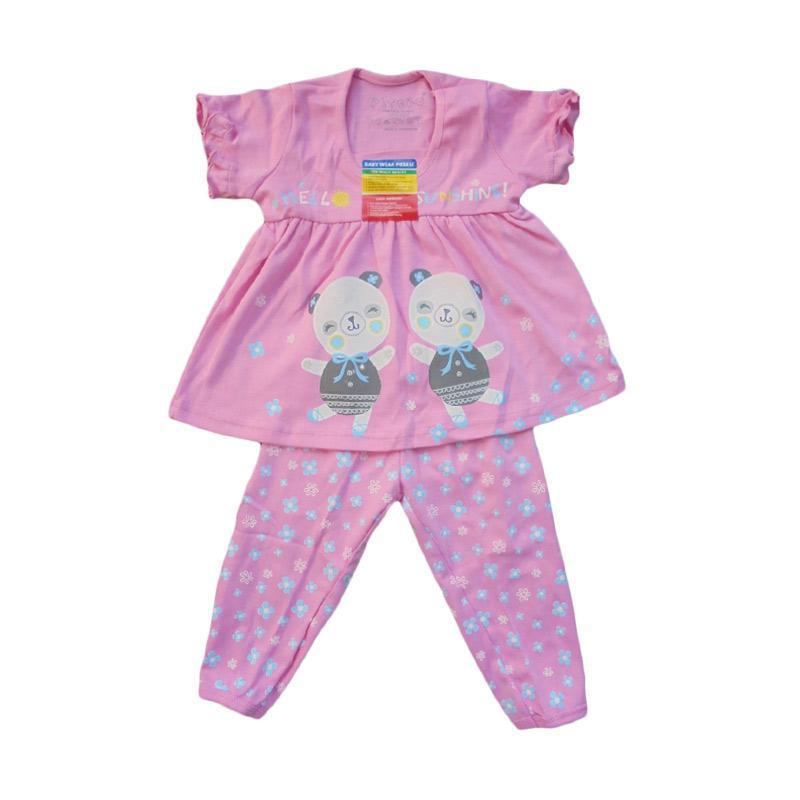 Piteku Hello Sunshine Set Baju Tidur Anak Perempuan - Pink