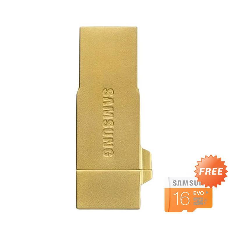 harga Samsung OTG Metal Memory Card - Gold + Free Micro SDHC Evo 16 GB Blibli.com