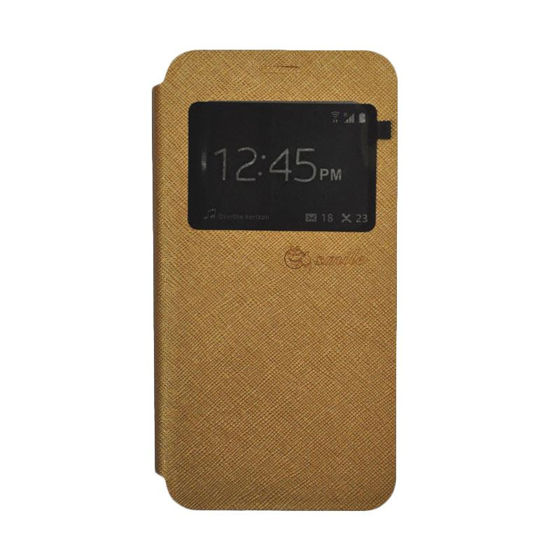 SMILE Standing Flip Cover Casing for Samsung Galaxy A5 2017 - Gold