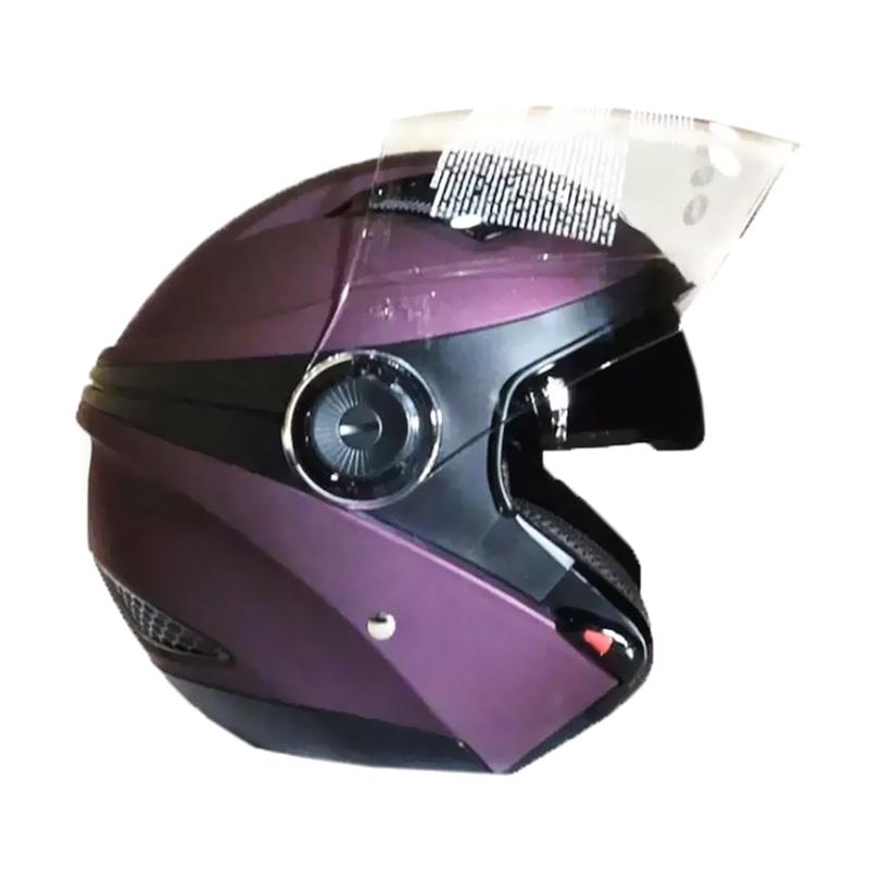 Zeus ZS-610K Polos Double Visor Helm Half Face - Ungu Tua Dove