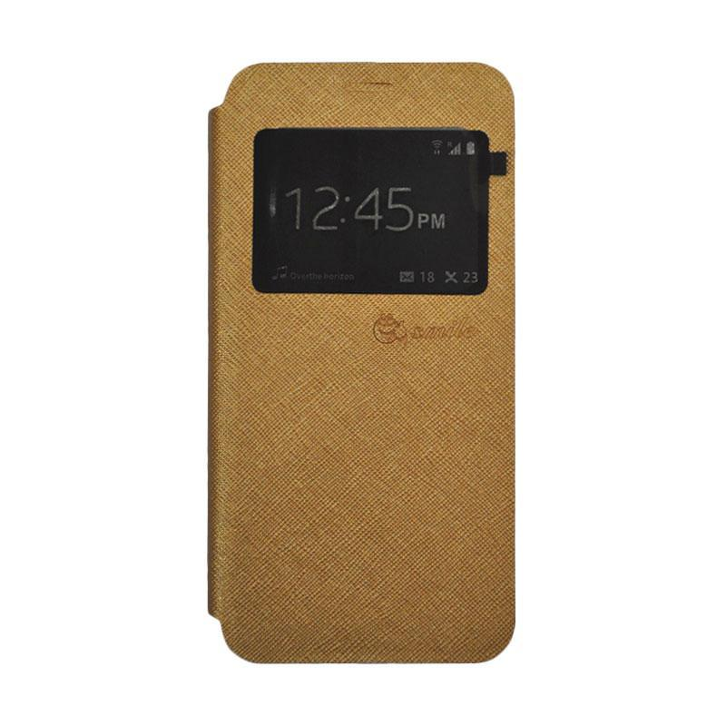 SMILE Standing Flip Cover Casing for Samsung Galaxy A7 2017 - Gold