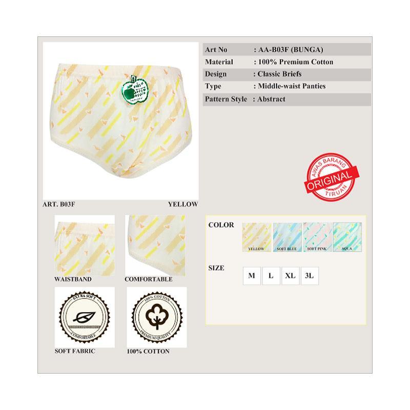 Celana Dalam Wanita Sorex T Floral 86503 (6 pcs). Source · Rp 70,000. Rp 63,000 ( 10 %). Stok Tersedia. Deskripsi. Arrow