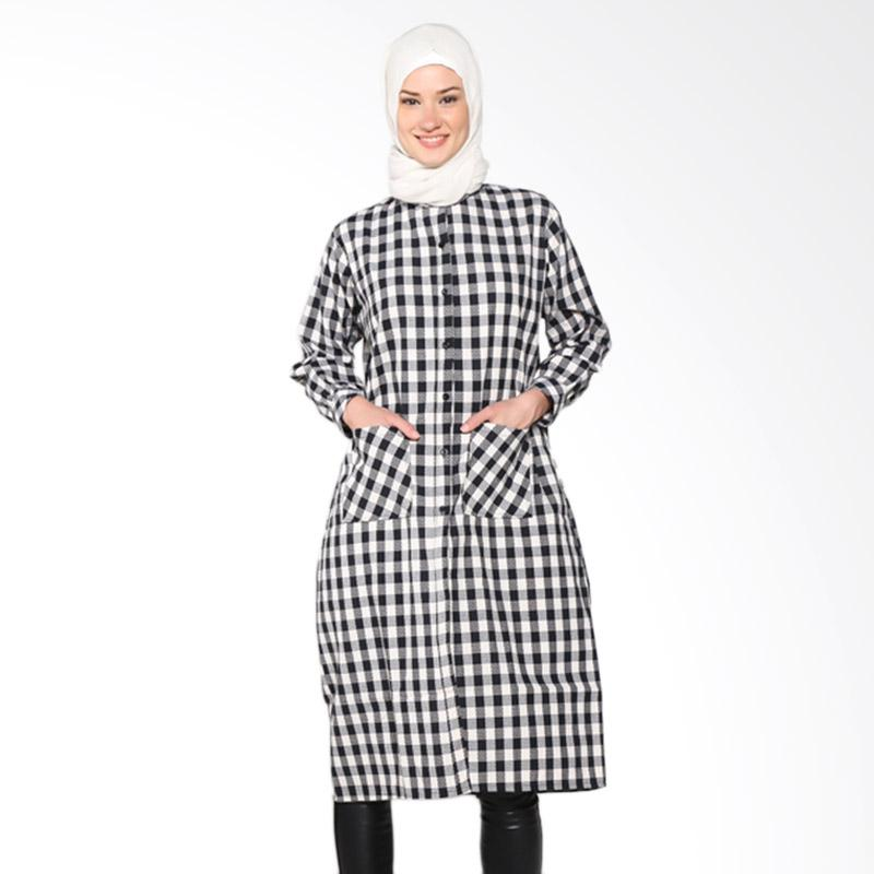 Chick Shop 2 CO-34a-02-H Simple Checkered Long Shirt Muslim - Black