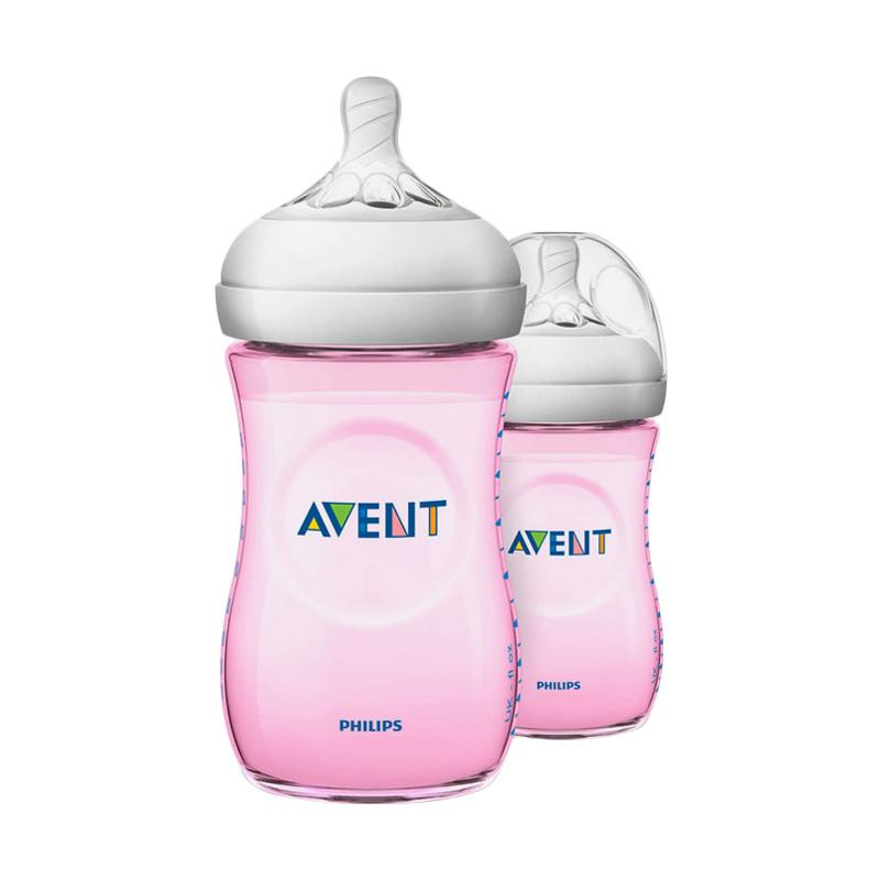 Philips Avent Natural SCF694-23 Bottle Susu - Pink [Twin Pack/260mL]