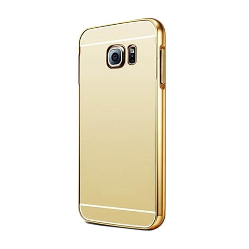 Bumper Mirror Sliding Casing for Samsung Galaxy S6 Edge - Gold
