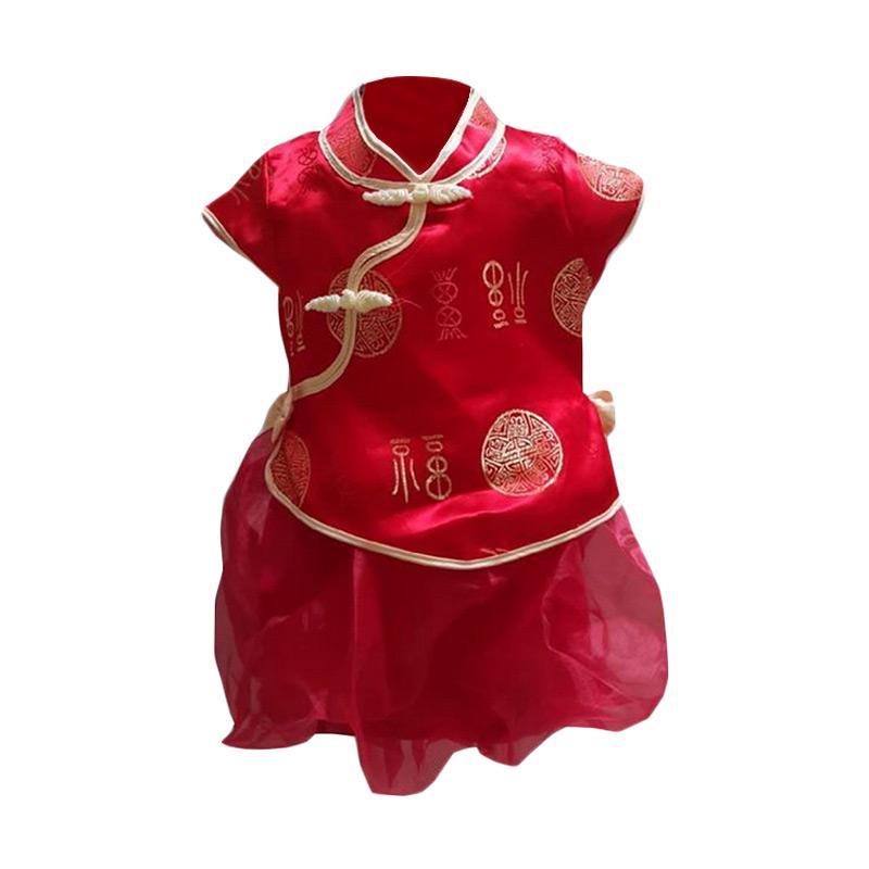 Chloebaby Shop F756 CNY Rok Tutu Setelan Baju Anak - Red