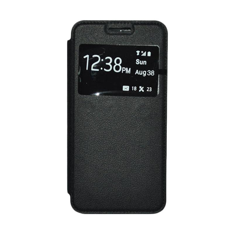 OEM Leather Book Cover Casing for Samsung Galaxy Note Edge - Black