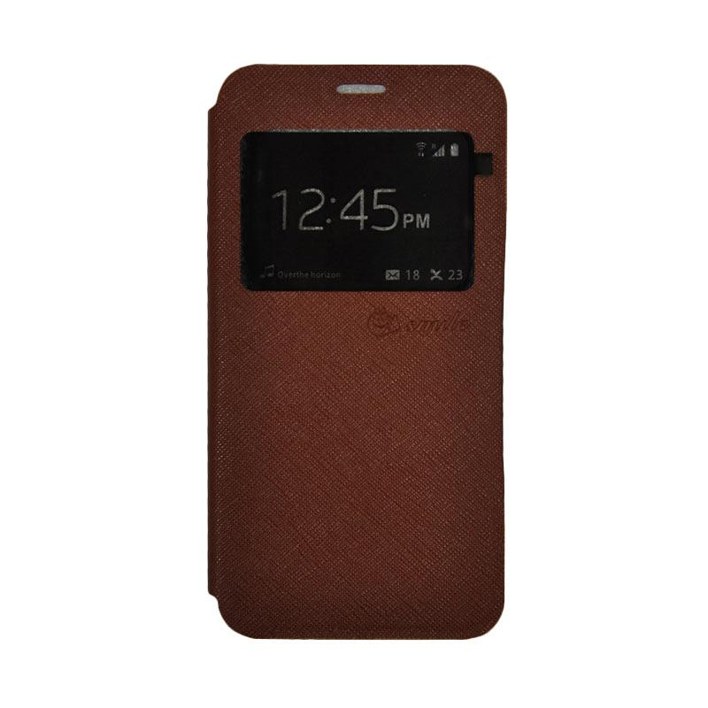 SMILE Standing Flip Cover Casing for Lenovo K4 Note A7010 - Brown