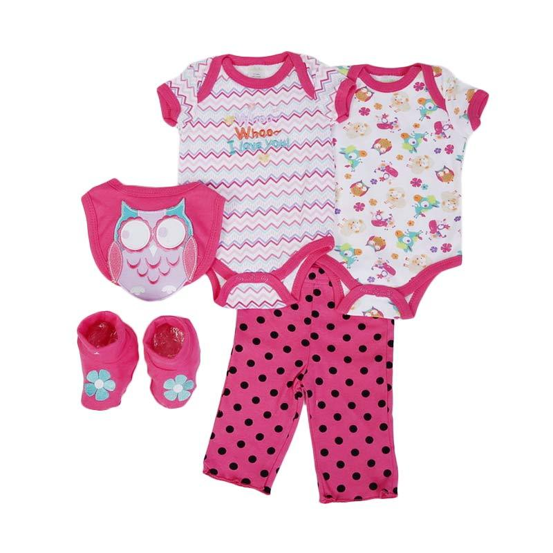 Chloe Babyshop F993 Set 5in1 Jumper Owl Polkadot - Pink