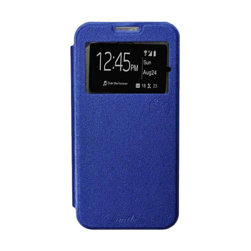 Smile Flip Cover Casing for Samsung Galaxy Alpha G580 - Biru Tua