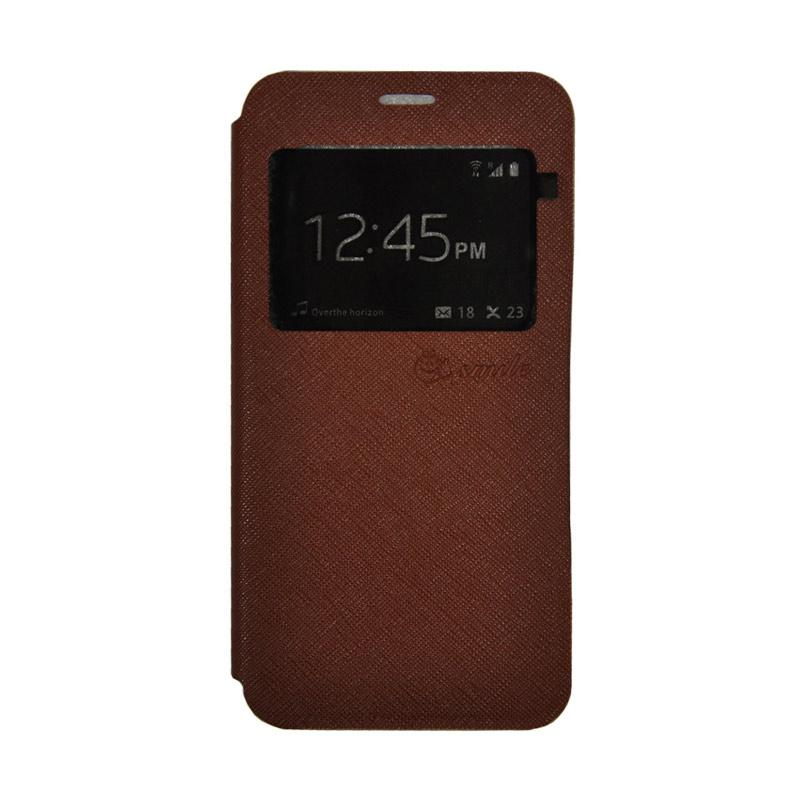 Smile Leather Standing Flip Cover Casing for Vivo V5 - Brown