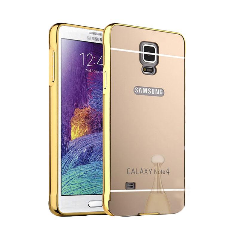 Bumper Case Mirror Sliding Casing for Samsung Galaxy Note 4 - Gold