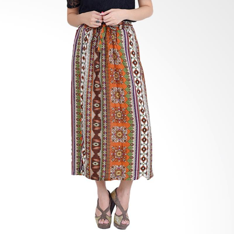Jfashion Corak Batik Tannia Rok Celana Wanita - Salur Coklat