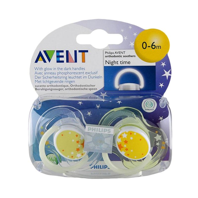 harga Philips Avent Soother Night Time SCF176-18 Dot Bayi - Yellow [0-6 m] Blibli.com