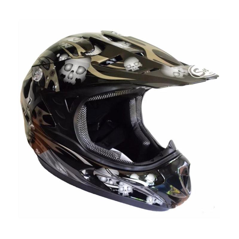 Snail MX309 Motocross Motif Skull Helm Full Face - Hitam Kilap