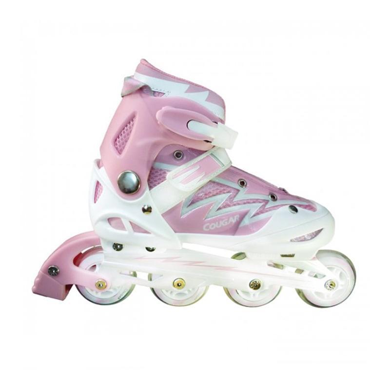 Cougar W/ABEC7 MS835L ADJ Junior Inline Skate Sepatu Roda - Pink White [Size 34-37]