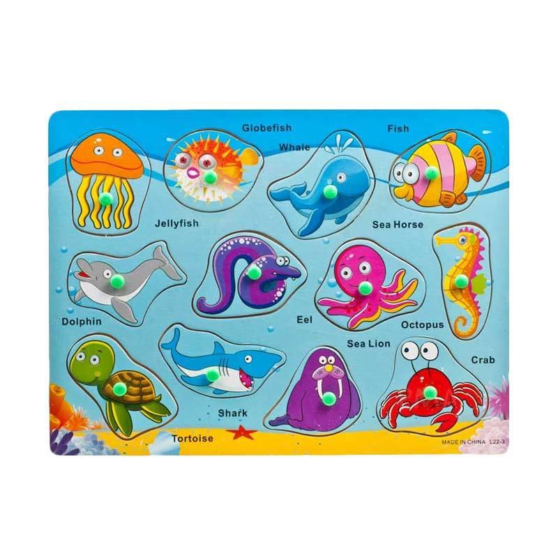 Pusat Mainan Anak PMA Binatang Laut Puzzle Kayu