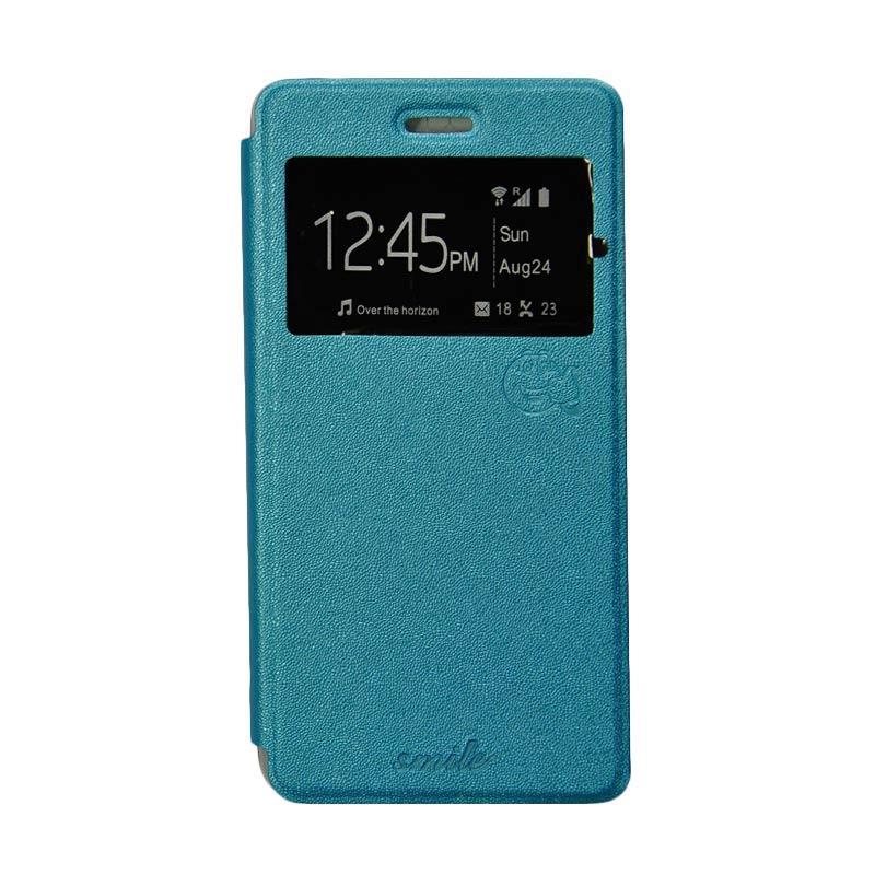 Smile Flip Cover Casing for Samsung Galaxy Alpha G580 - Biru Muda