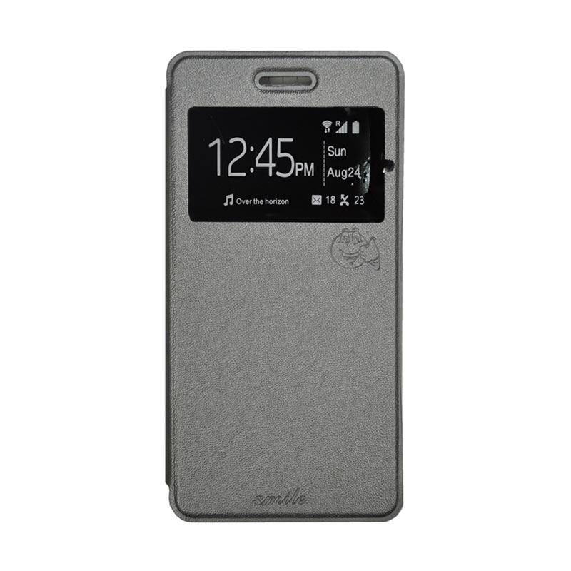 SMILE Standing Flip Cover Casing for Samsung Galaxy J5 - Grey