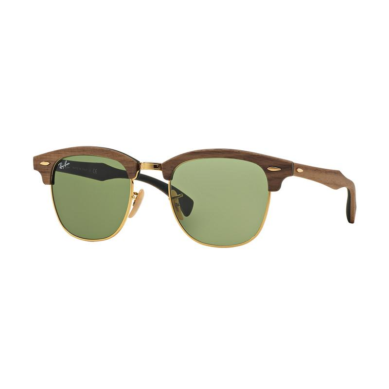 Ray-Ban Clubmaster M Rb3016M Sunglasses - Walnut Rubber Green [11824E/ Size 51/ Green]