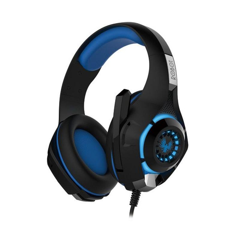 Robot RH P08 Stereo HiFi Gaming Wired Headset with Light Blue