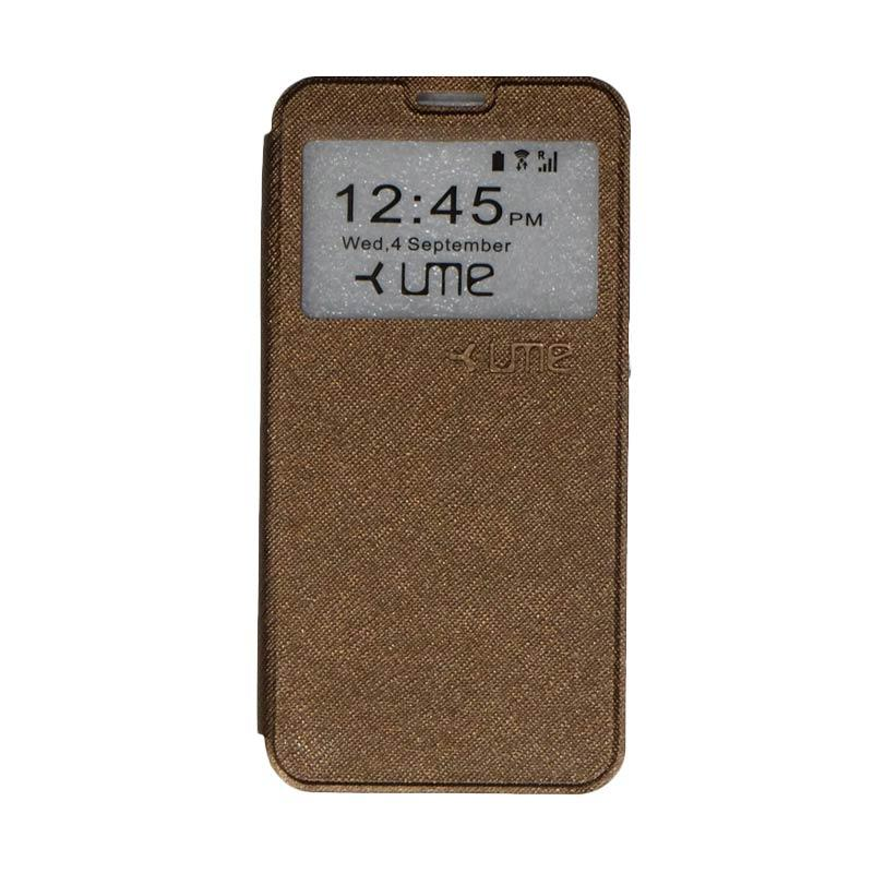UME Flipshell Flip Cover Casing for Coolpad Fancy 3 E503 5.5 Inch - Brown