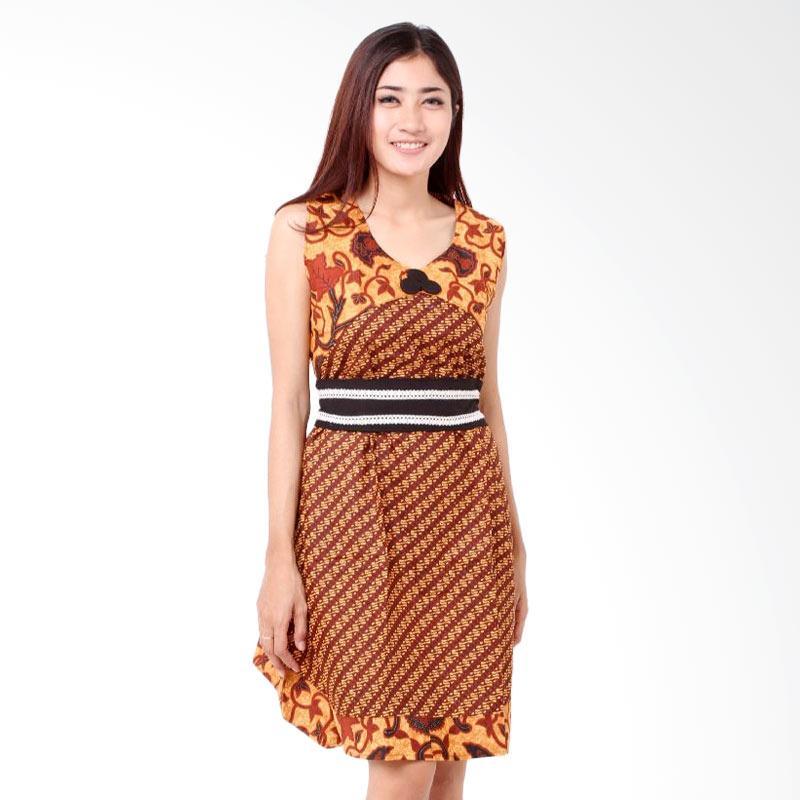 Batik Distro BA7834 TL Tali Pinggang Dress Wanita - Coklat