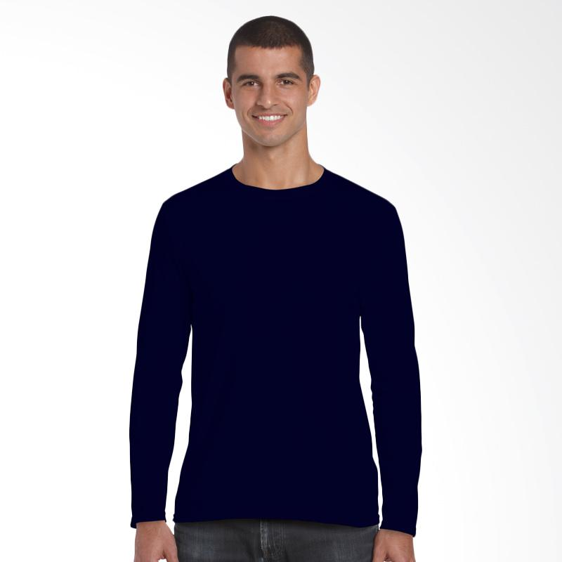Gildan Premium 76400 Long Sleeve Original Kaos Polos Pria - Navy