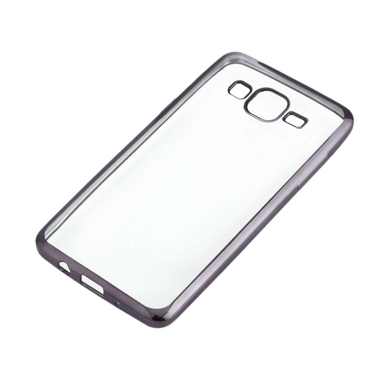 OEM Shining Chrome Softcase Casing for Samsung Galaxy J1 J120 2016 - Black
