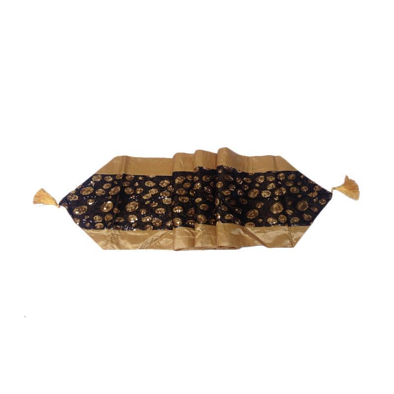 Tren-D-home Satin Full Manik Table Runner - Gold [33 x 180 cm]