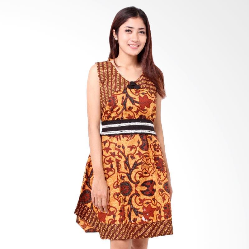 Batik Distro BA7836 TL Tali Pinggang Dress Wanita - Coklat