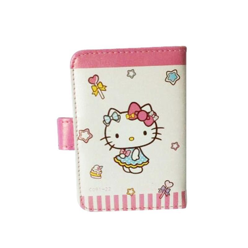 Hello Kitty HK Dress Blue Dompet Kartu - Putih Pink