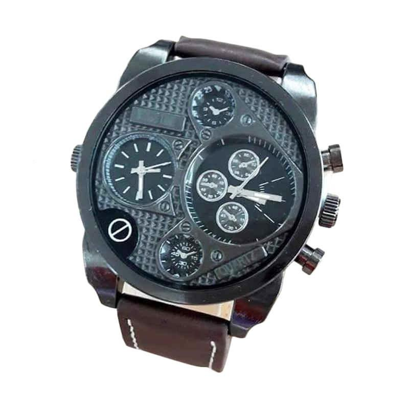 Swiss Army SA 070811AD Dual Time Jam Tangan Pria - Brown Black