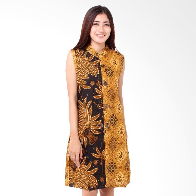 Batik Distro BA7829 TL Shanghai Koin Dress Wanita - Coklat
