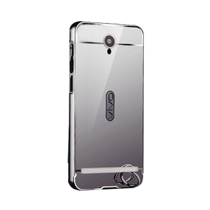 Bumper Case Mirror Sliding Casing for Vivo Y28 - Silver