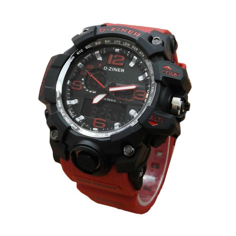 D-Ziner DZ0533 Dual Time Jam Tangan Pria Strap Karet - Merah Hitam
