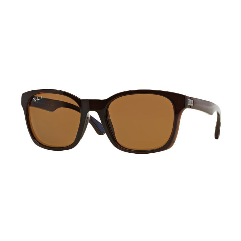 Ray-Ban 714-83 RB4197F Polar Brown Sunglasses - Shiny Brown [Size 56]