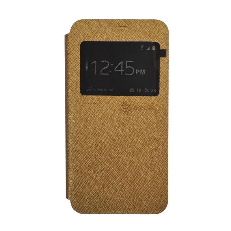 SMILE Standing Flip Cover Casing for Xiaomi Redmi 4 Prime - Gold