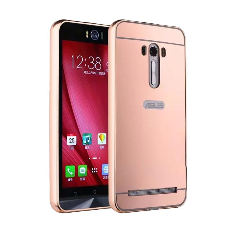 Case Bumper Metal with Back Case Sliding Casing for Asus Zenfone Selfie - Rose Gold