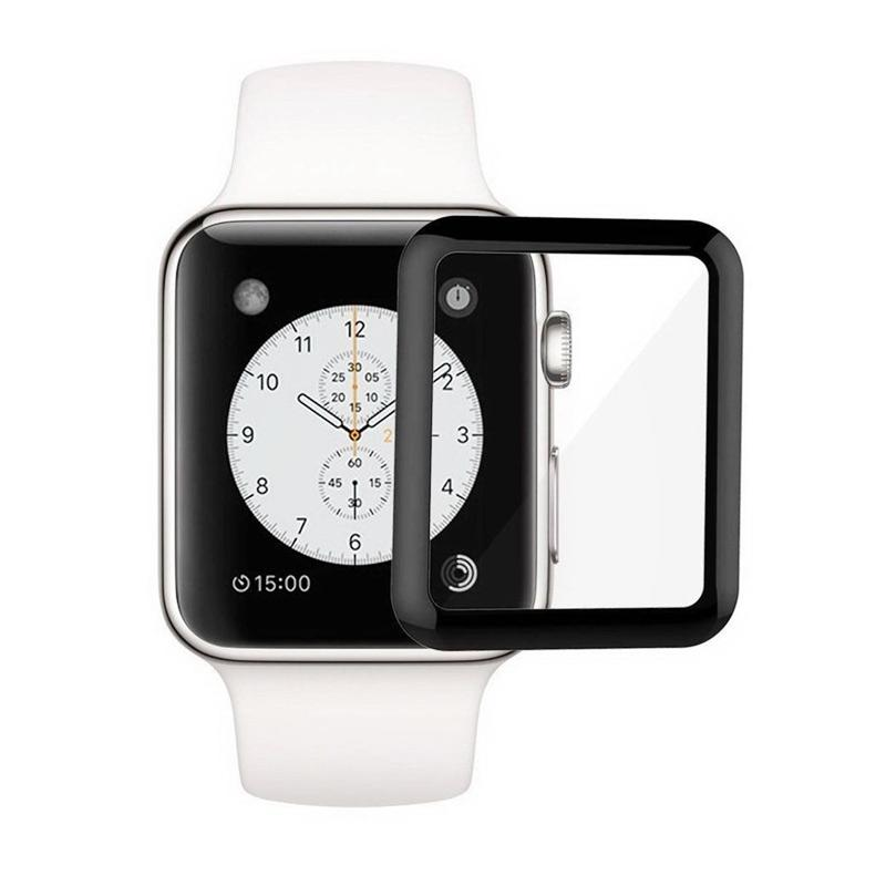 Royal Online Shop Tempered Glass Screen Protector for Apple Watch - Black [42 mm/ Full 3D]