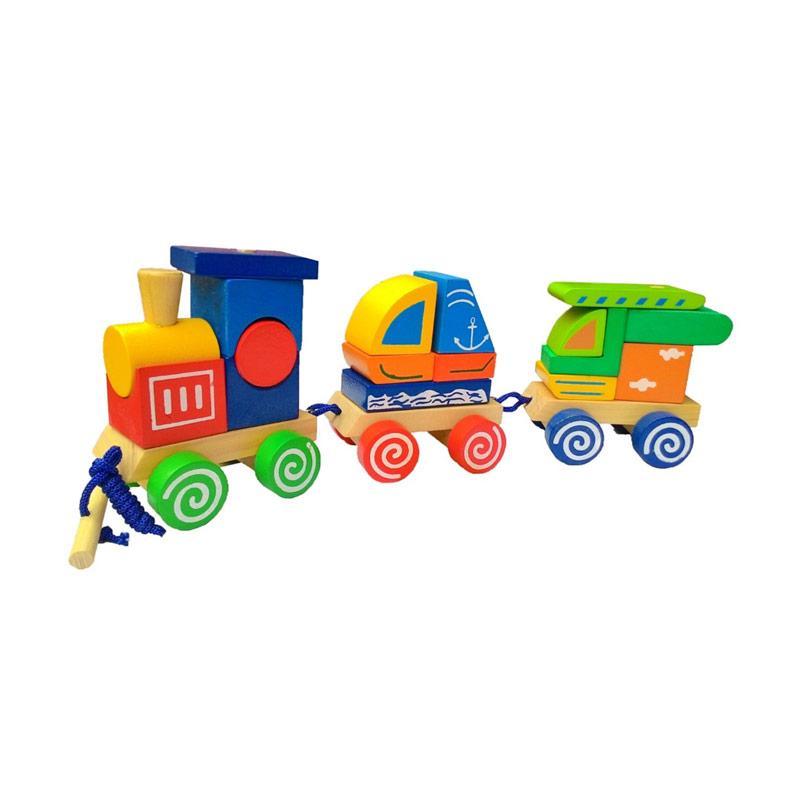 Istana Bintang Kereta Kayu 3 Bentuk Mainan Edukasi Anak