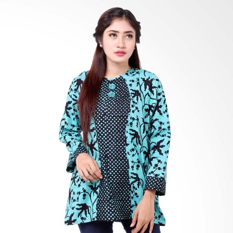Harga Batik Distro Ba6977 Blus Wanita Lengan Panjang Mawar Biru