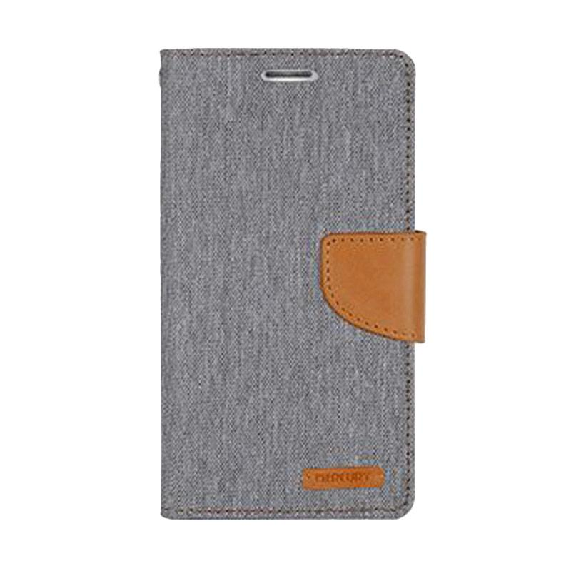 Mercury Canvas Diary Flip Cover Casing for LG Optimus G4 - Abu-abu