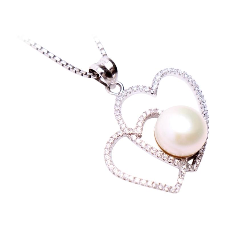 Royale Jewel WGP 086A Kalung Perak Emas Putih dan Mutiara Asli