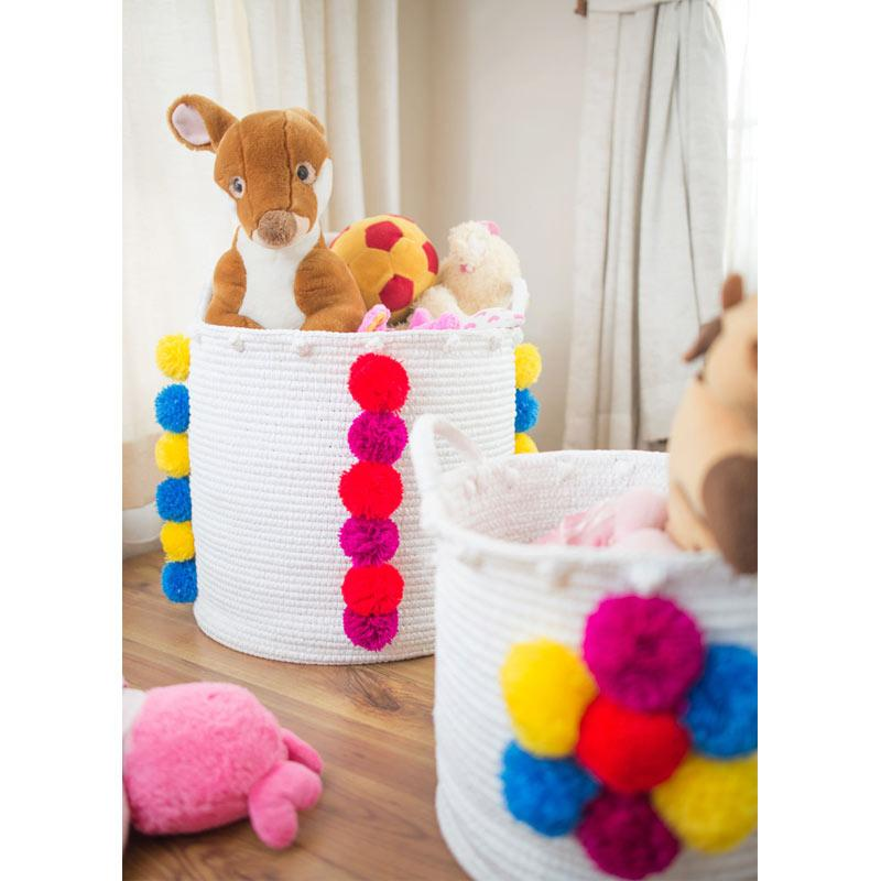 Bateeq Home Vetterband Round Basket with Pom Pom Motif