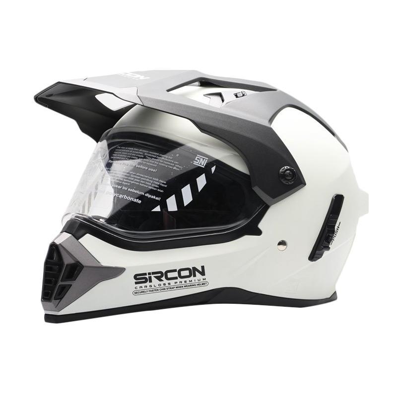 harga Cargloss Sircon Supermoto Glowy Helm Full Face - White Blibli.com