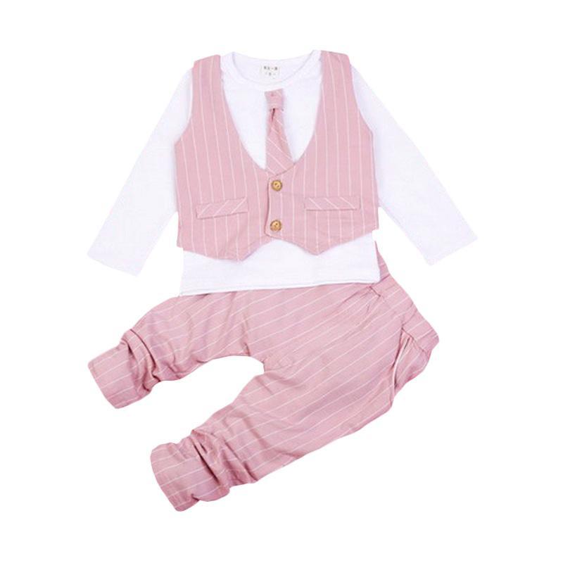 Chloe Babyshop F966 Toxedo 3in1 Dasi Panjang Stripe - Pink